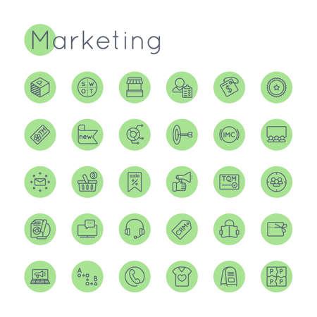 market place: Vector Round Marketing Icons isolated on white background Illustration