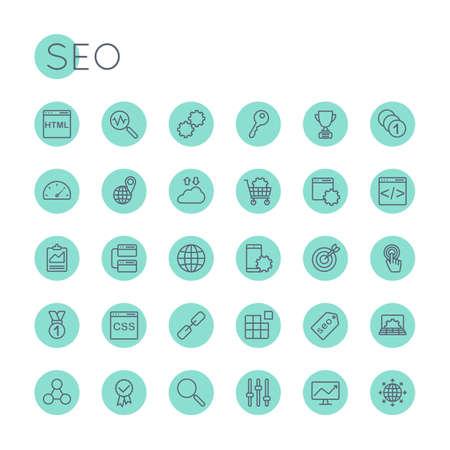 optimization: Round SEO Icons isolated on white background