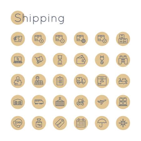 international monitoring: Round Shipping Icons isolated on white background