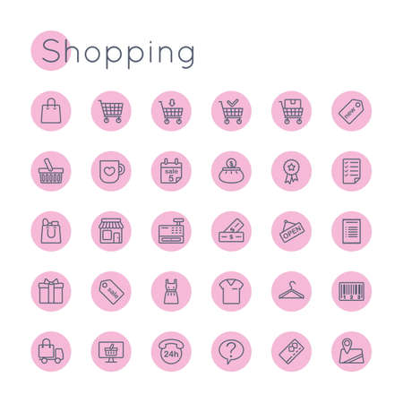 shopping icons: Round Shopping Icons isolated on white background