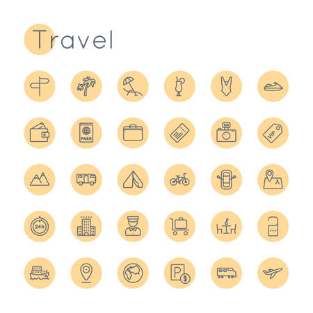 Round Travel Icons isolated on white background Vectores