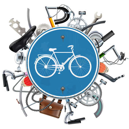 transmission: Vector Bicycle Spares Concept with Blue Round Sign isolated on white background Illustration