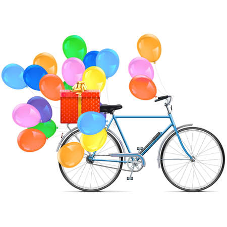 spoked: Vector Bicycle with Balloons isolated on white background Illustration