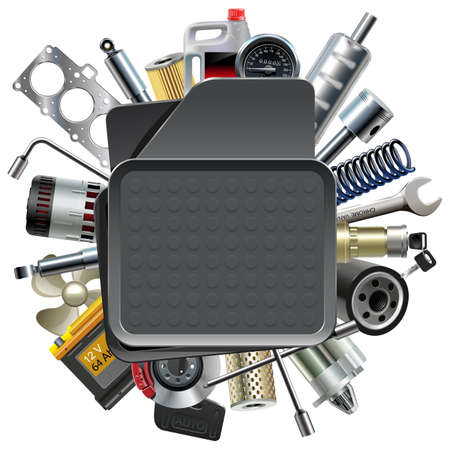 spares: Vector Car Mat with Car Spares isolated on white background