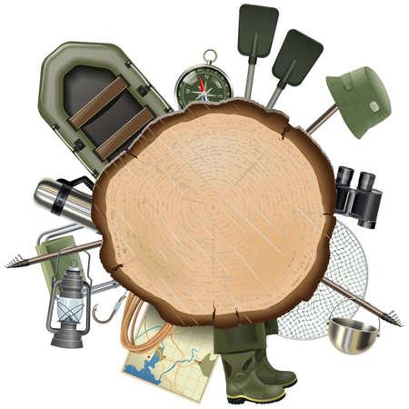 letrero: Pesca de los trastos vector con tabla de madera aislado en el fondo blanco