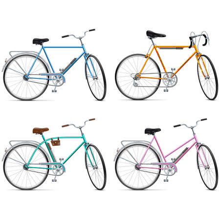 velocipede: Vector Bicycle Set isolated on white background