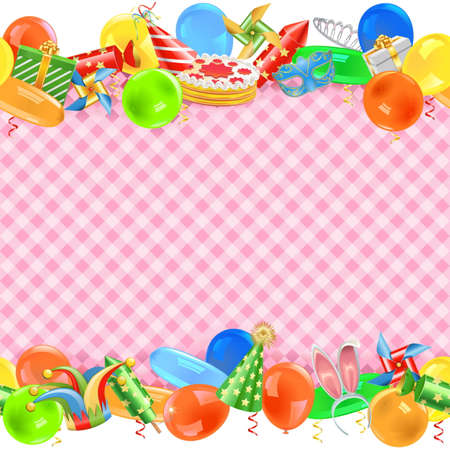 costume ball: Vector Celebration Border isolated on white background Illustration