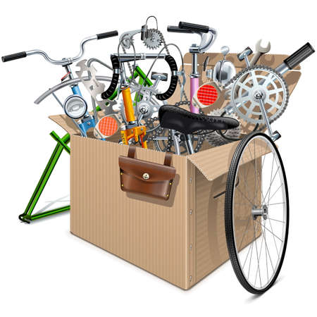 spares: Carton Box with Bicycle Spares isolated on white background