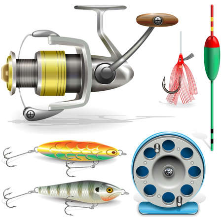 Fishing Tackle isolated on white background Vector Illustration
