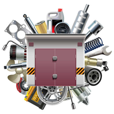 spare parts: Garage with Car Spares isolated on white background Illustration