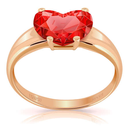sapphire: Golden Ring with Ruby isolated on white background