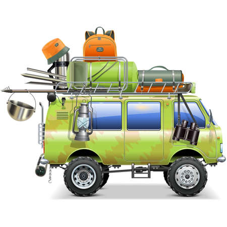 Travel Car with Camping Accessories isolated on white background
