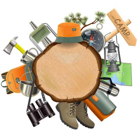 キャンプの付属品は、白い背景で隔離で木の板  イラスト・ベクター素材
