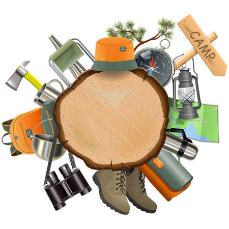 summer vacation: Wooden Board with Camping Accessories isolated on white background