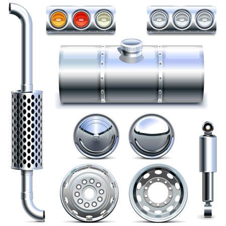 chromium plated: Truck Parts  isolated on white background Illustration