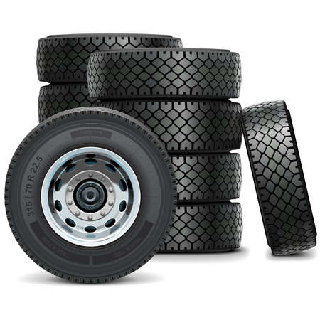 vulcanization: Truck Tires isolated on white background