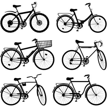 spoked: Vector Bicycle Pictogram Set 2 isolated on white background Illustration