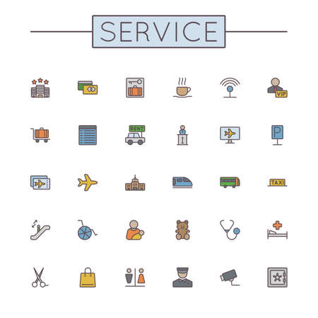 symbol icon: Vector Colored Service Line Icons isolated on white background Illustration