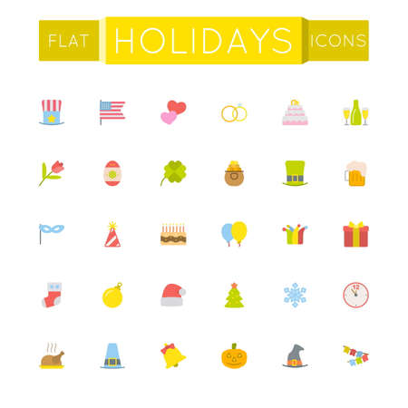 birthday clown: Vector Flat Holidays Icons isolated on white background
