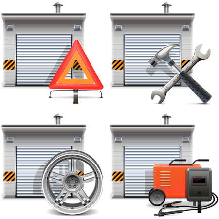 spares: Vector Garage with Spares and Tools isolated on white background