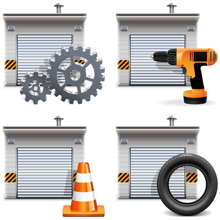 Vector Garage with Tools and Spares isolated on white background Illustration