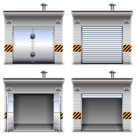 closed parking: Vector Garages isolated on white background
