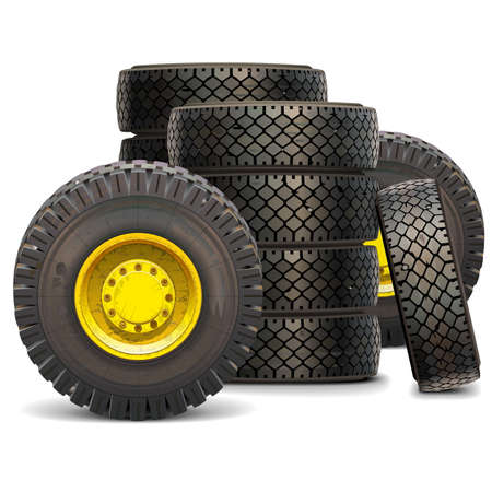 scuffed: Vector Old Tractor Wheel Set 2 isolated on white background