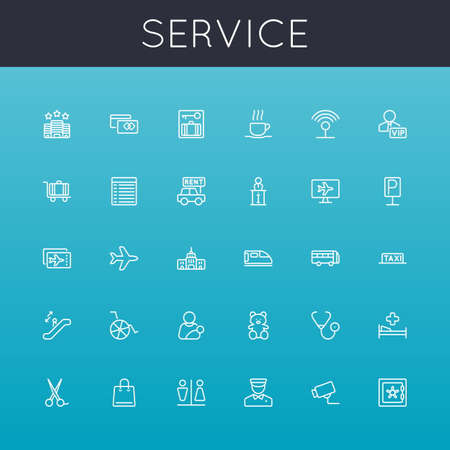 infirmary: Vector Service Line Icons isolated on  background Illustration