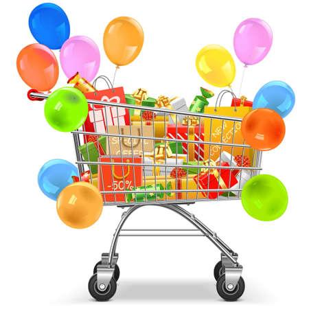 Vector carretilla del supermercado con los regalos aislados en el fondo blanco