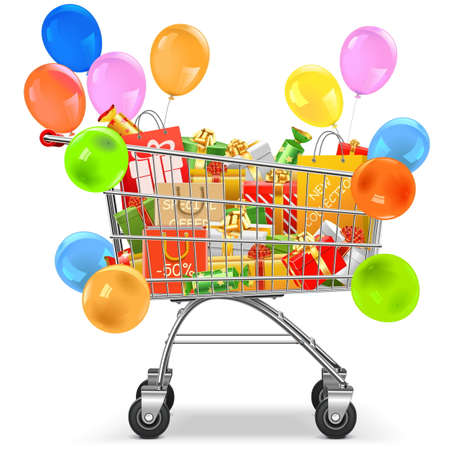 cart: Vector Supermarket Trolley with Gifts isolated on white background