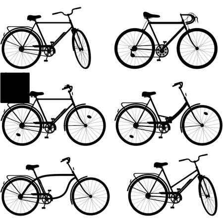 spoked: Vector Bicycle Pictogram Set 3 isolated on white background Illustration