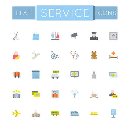infirmary: Vector Flat Service Icons isolated on white background