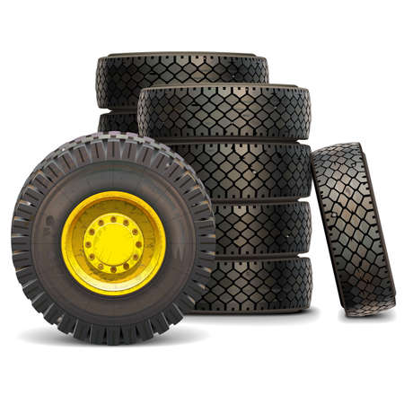 vulcanization: Vector Old Tractor Wheel Set isolated on white background