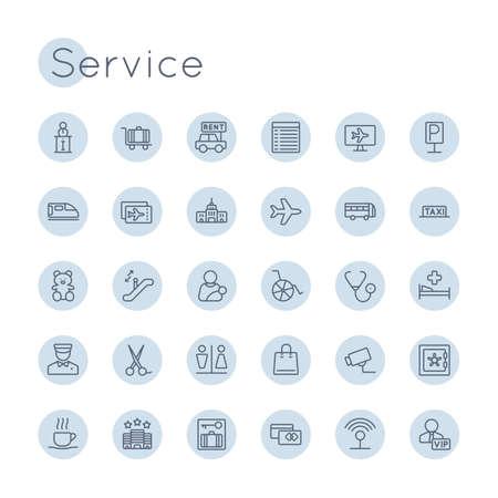 Vector alrededor iconos de servicio aisladas sobre fondo blanco Ilustración de vector