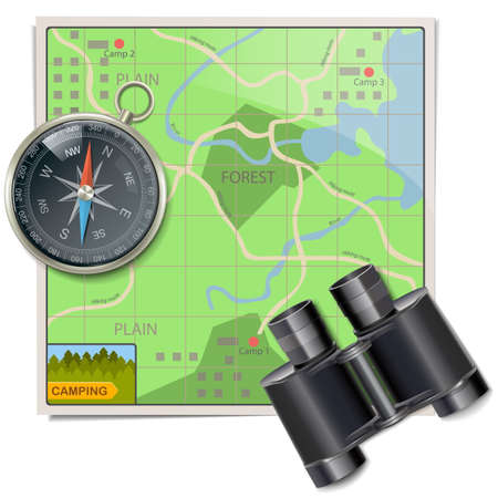Vector Camping Map isolated on white background Çizim