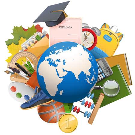 education: Vector Global Concept Education isolé sur fond blanc Illustration
