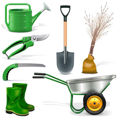 tillage: Garden Icons Set isolated on white background Vectores