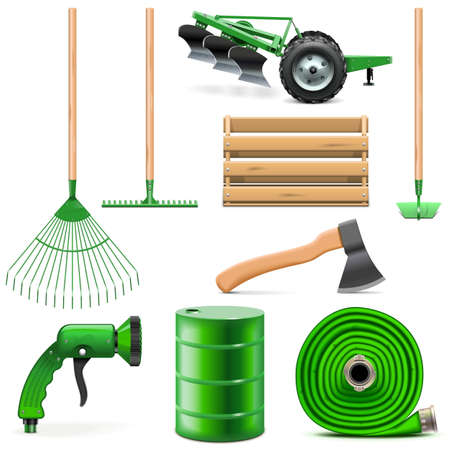 agricultural: Garden Icons Set isolated on white background Illustration