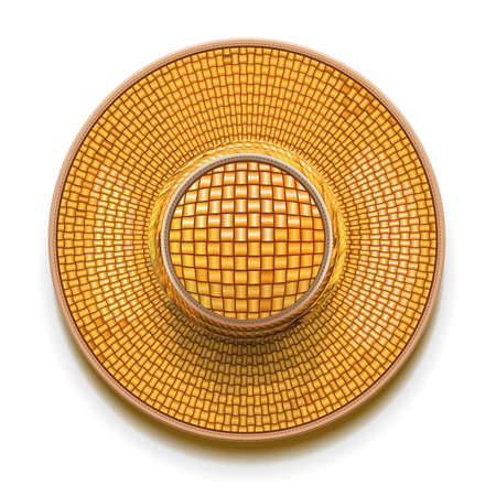 rattan: Straw Hat isolated on white background