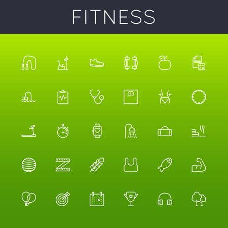 Fitness lijnpictogrammen op groene achtergrond