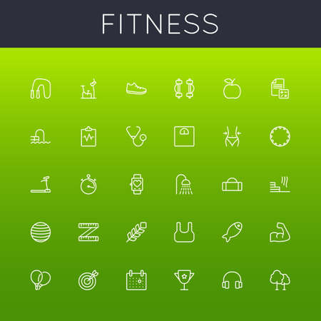 Fitness Line Icons on green background