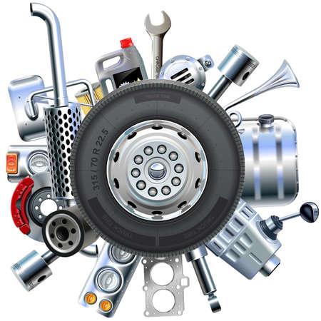 Truck Spares Concept op een witte achtergrond Stock Illustratie
