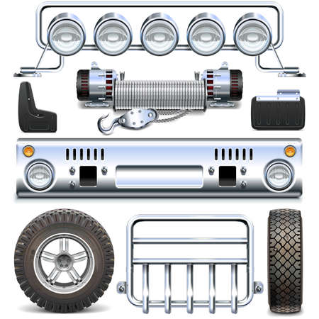 spares: Offroad Car Spares isolated on white background Illustration