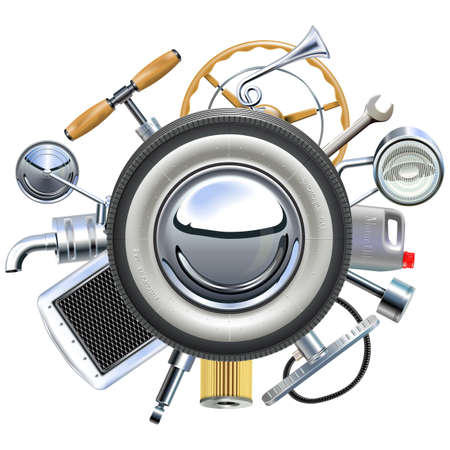 rearview: Retro Car Parts Concept isolated on white background