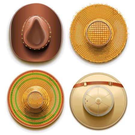 chapeau de paille: Chapeaux Set isolé sur fond blanc