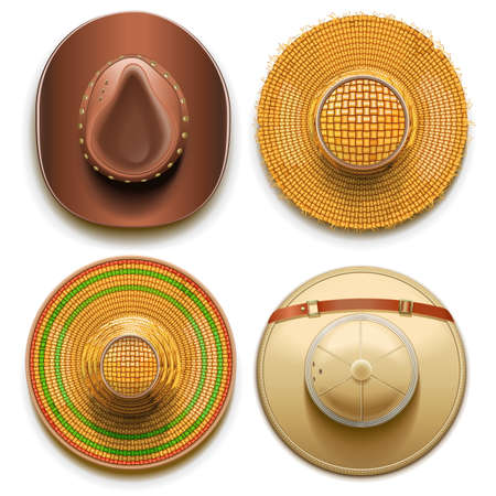 flaxen: Hats Set isolated on white background