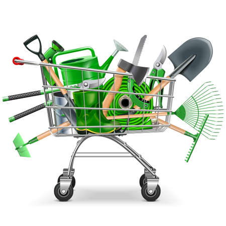 Supermarket Trolley with Garden Accessories isolated on white background