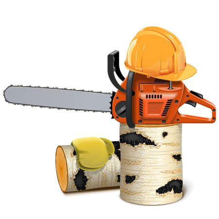 cut logs: Chainsaw with Helmet and Birch Firewood isolated on white background