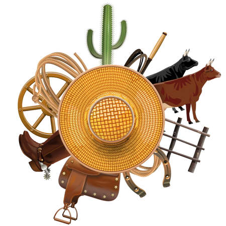 straw hat: Cowboy Ranch Concept with Straw Hat isolated on white background