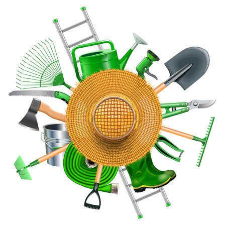 secateur: Garden Accessories with Straw Hat isolated on white background